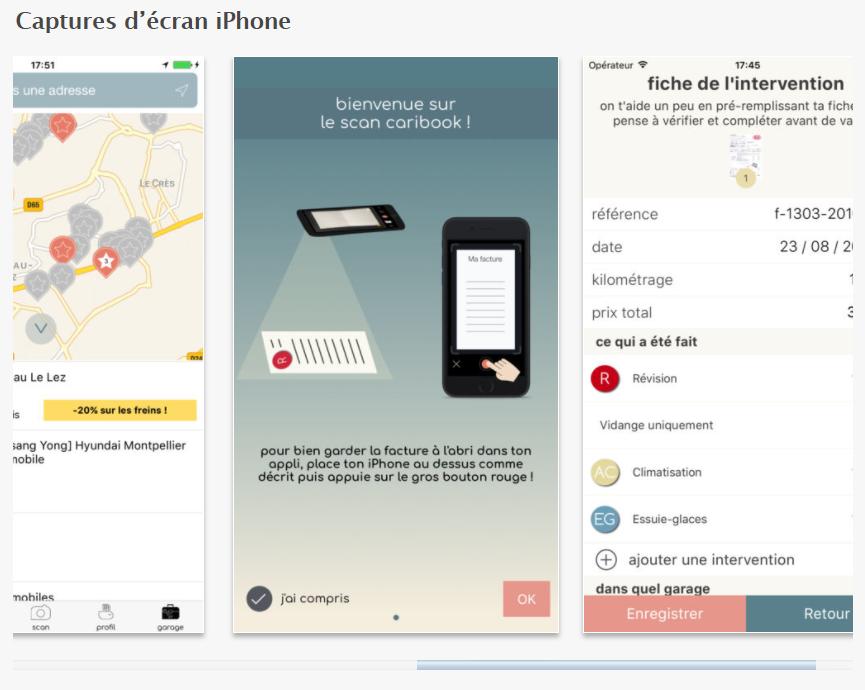Capture d'écran application pour conducteurs Caribook