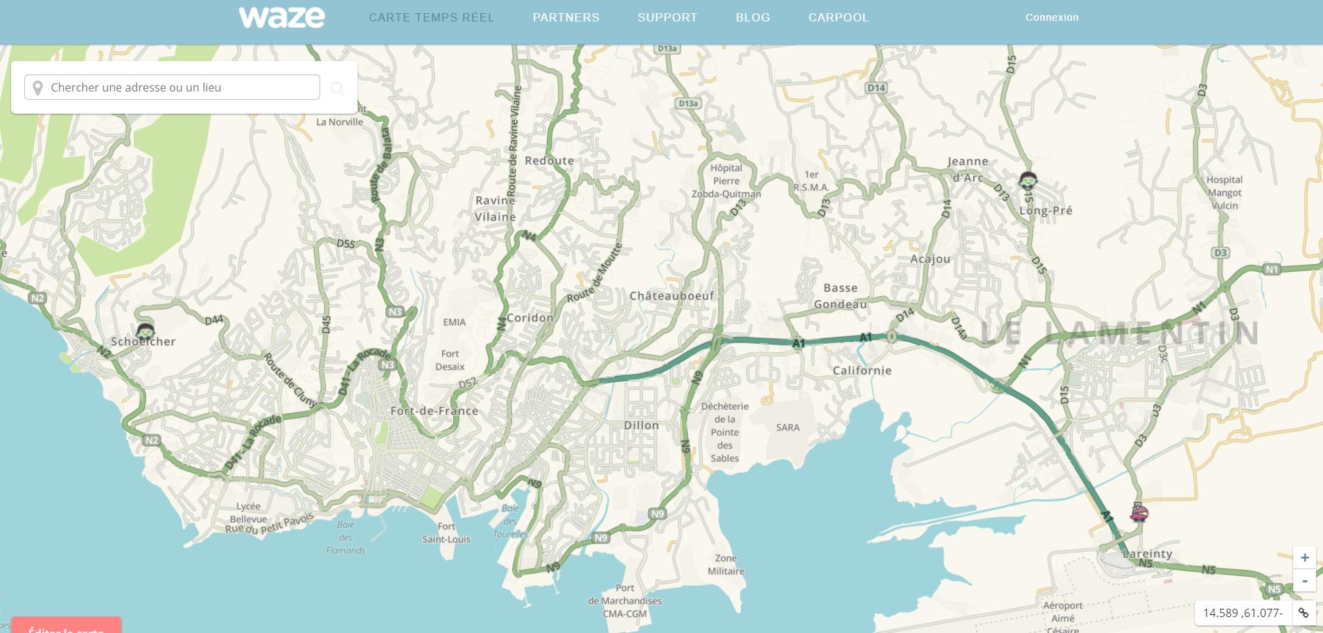 Capture d'écran application pour conducteurs Waze